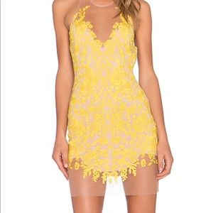 For love and lemons yellow halter dress